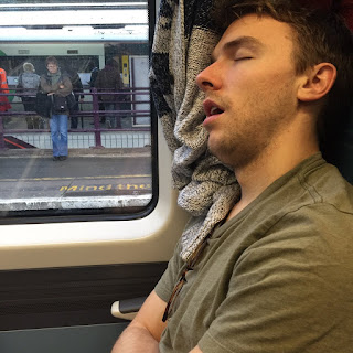 My friend Zach, asleep on the train to Brighton.