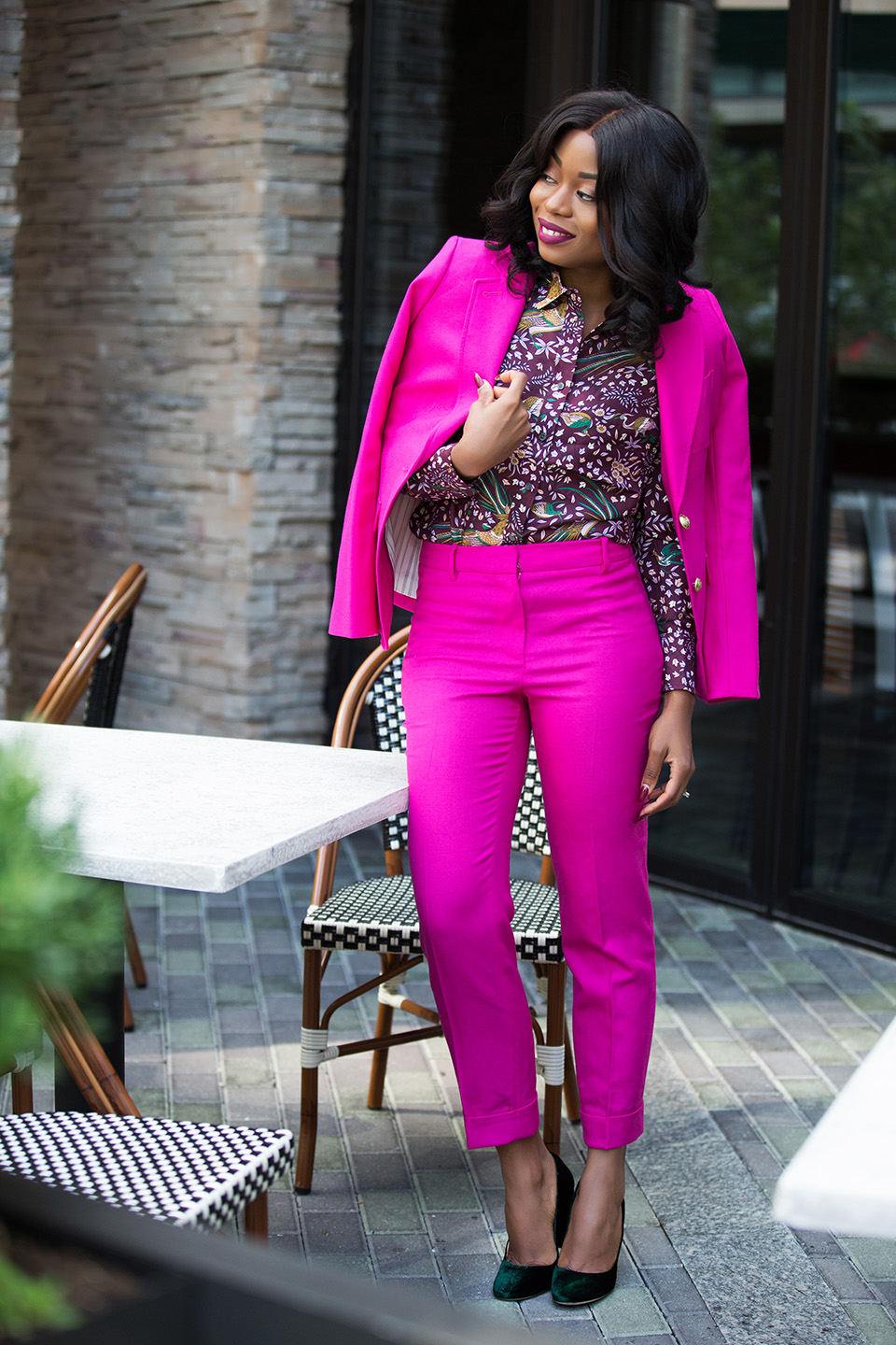 jcrew pink suit, drake print silk blouse, velvet pumps, www.jadore-fashion.com