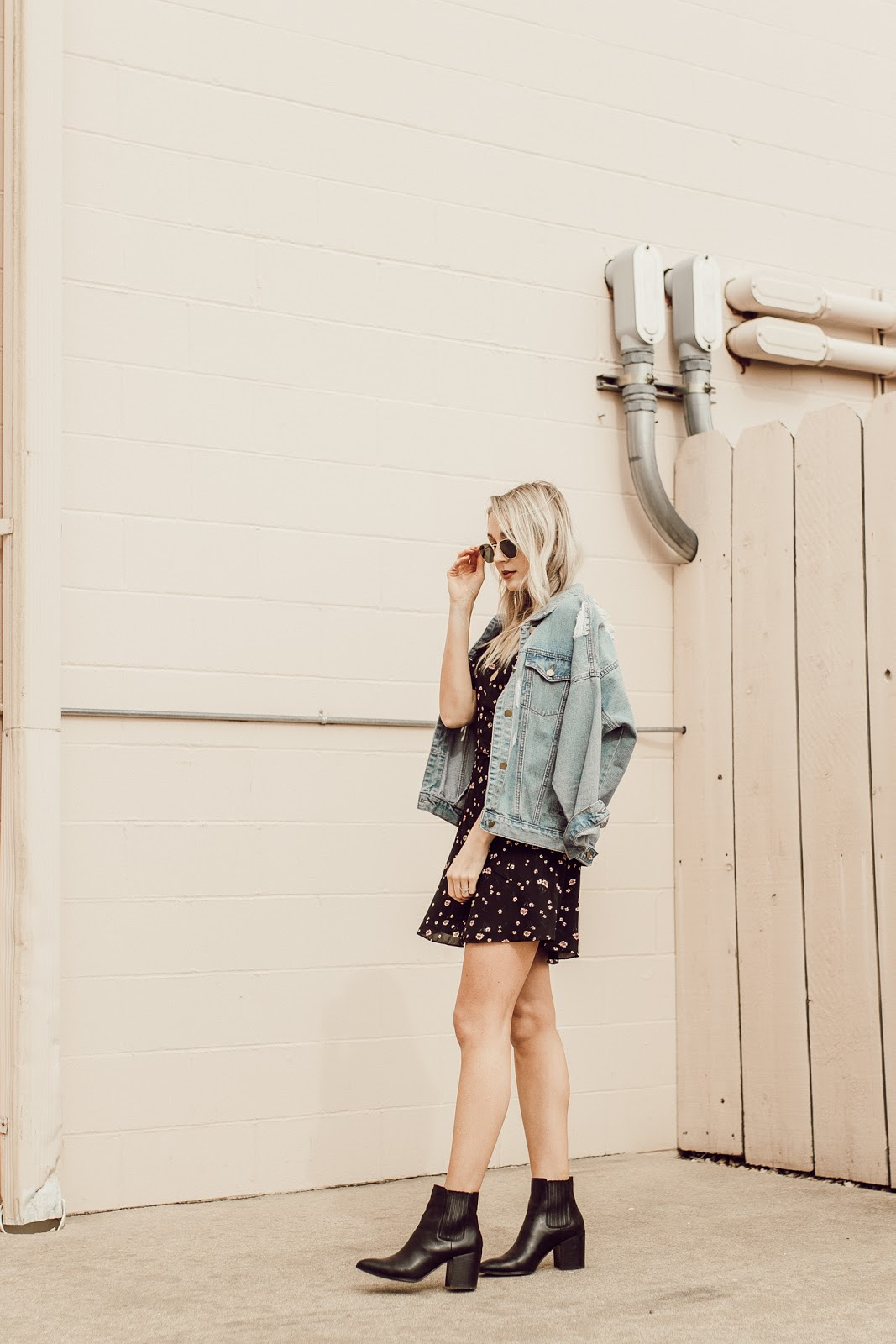 spring dress with a jean jacket and boots