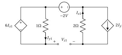 Superposition - Circuit avec sources dépendantes - Contribution de la source de tension -2V