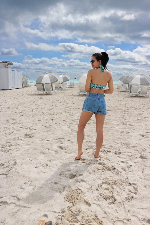 Casual Summer Beach Outfit Denim Shorts Bikini