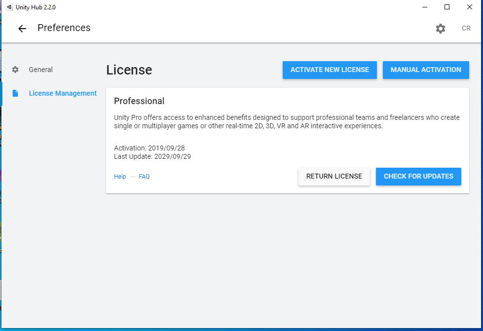 Unity Hub's License Manager