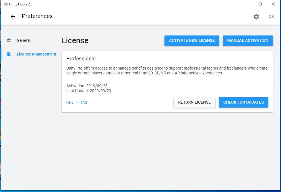 Administrador de Licencias de Unity Hub