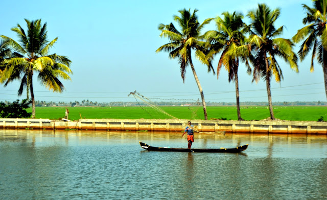 Backwater and fisherman in Alappey - Kerala