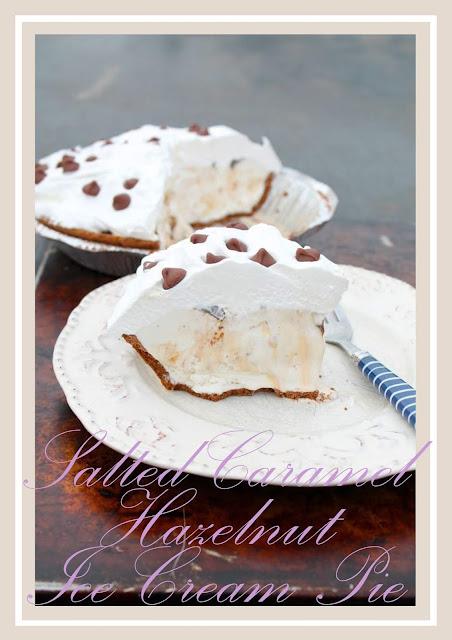 A Simple dessert of Salted Caramel Hazelnut Ice cream Pie