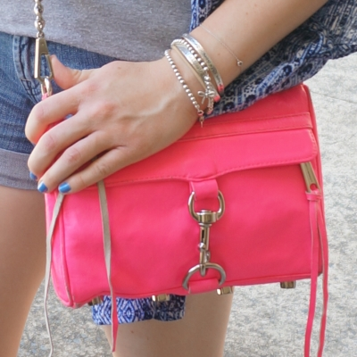 blue nails, Rebecca Minkoff neon pink mini MAC  | Away From The Blue