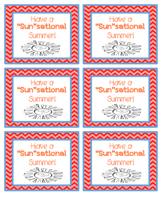 """Just Wild About Teaching: Have a """"Sun""""sational Summer! - Tag Freebie!"""