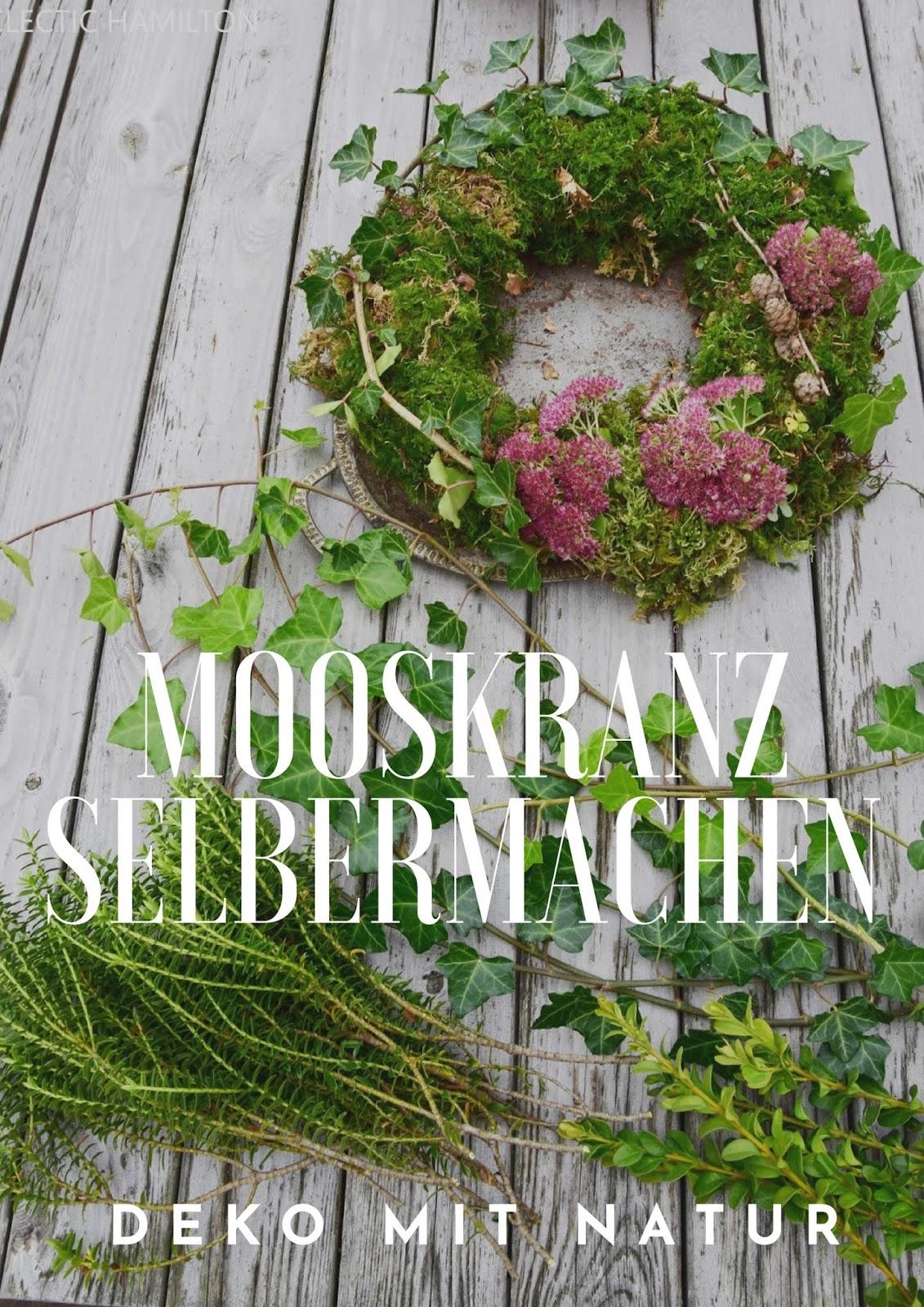 Mooskranz einfach selbermachen. DIY Kranz aus Moos, Fette Henne und Efeu