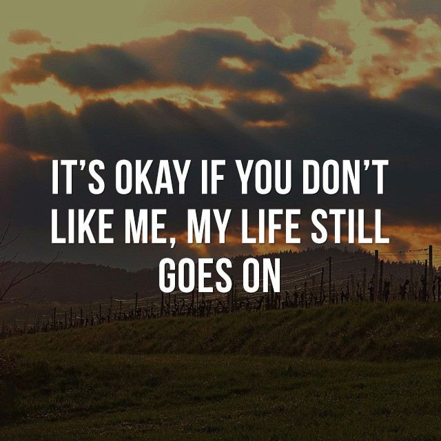 It's okay if you don't like me, my life still goes on! - Great Motivational Quotes