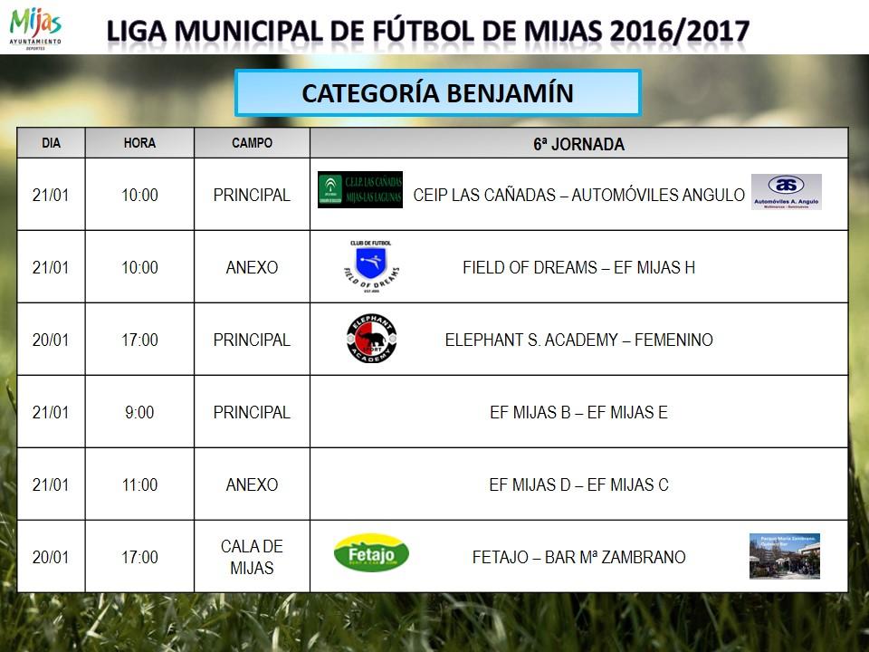 Horarios 6 j liga municipal 16 17 for Liga municipal marca