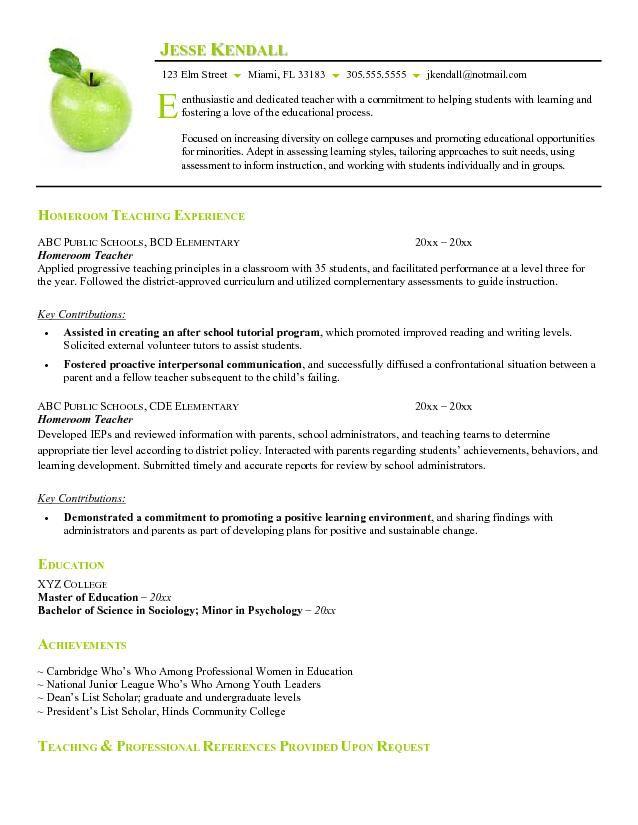 Free Sample Teacher Resume Sample Resumes