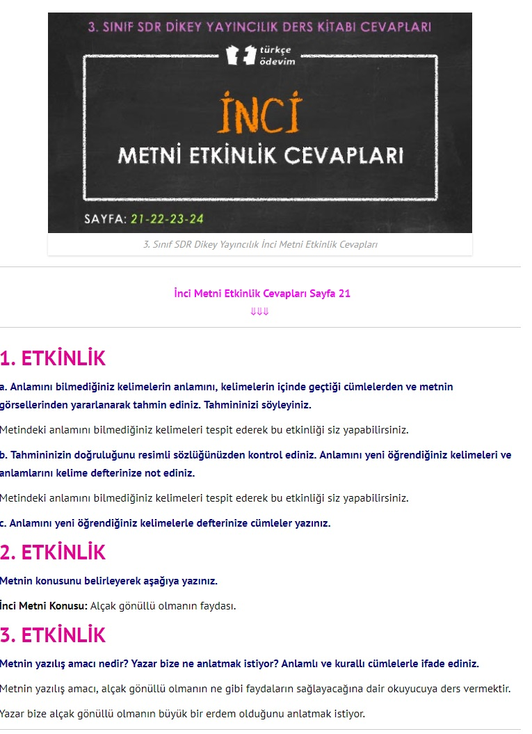 3. Sınıf Türkçe Çalışma Kitabı Cevapları Dikey Yayınları Sayfa 21