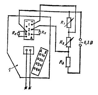 Схема соединений для проверки исправности газоанализатора типа ТП