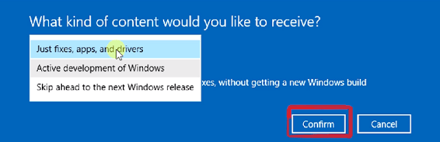 select the kind of content you want through windows insider programme