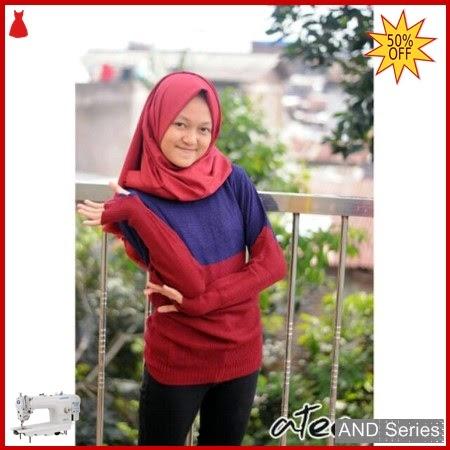 AND388 Baju Atasan Wanita Blouse Roundhand Comby BMGShop