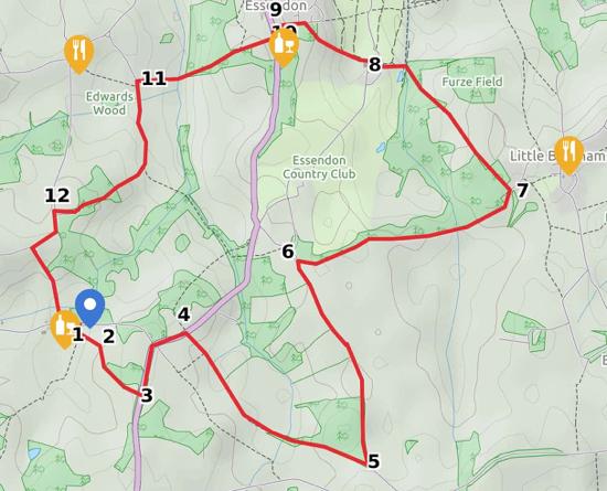 Map of Walk 34: Wildhill Double Loop
