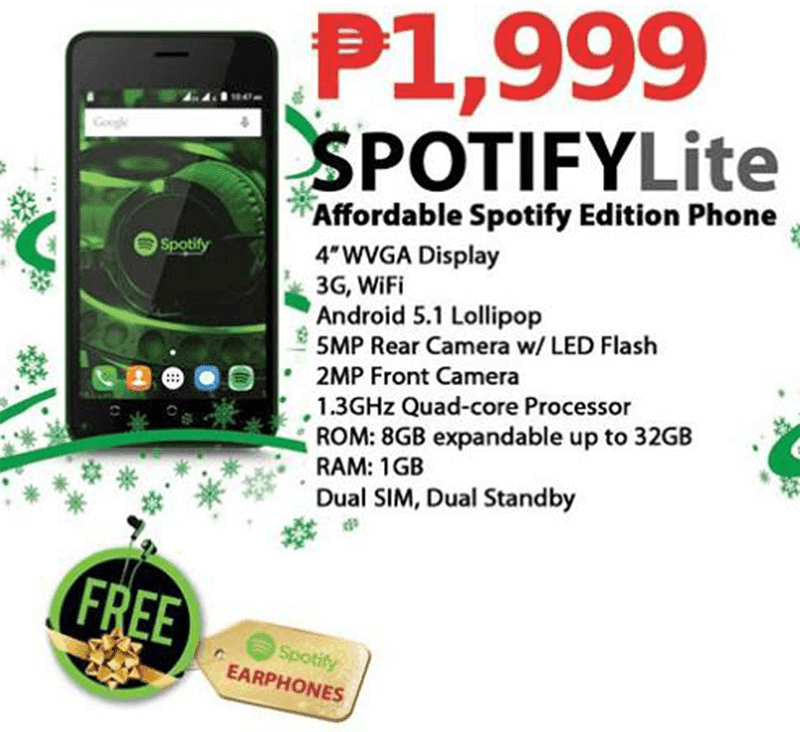 CloudFone Spotify Lite most affordable quad core 1 gb ram