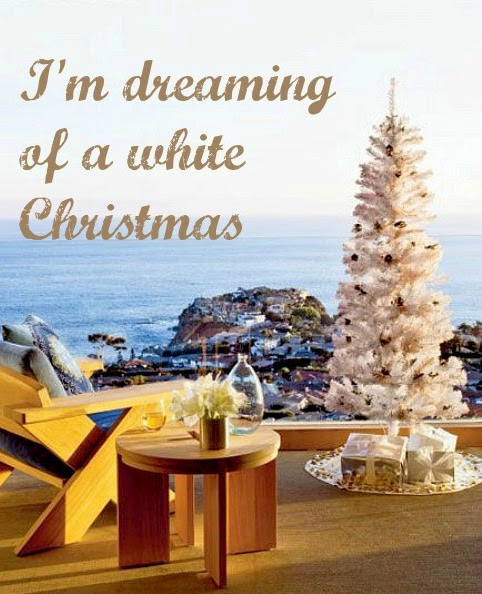 white coastal Christmas trees