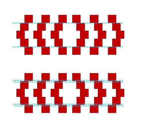 Bir desen üzerindeki tek noktalı mavi çizginin daralıyormuş çift noktalı çizgininde genişliyormuş gibi görünmesi