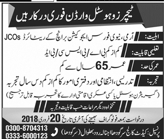 Jobs in Cadet College Sargodha 2018
