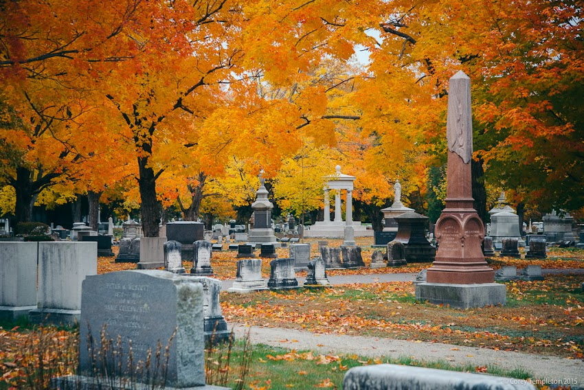 Portland, Maine USA October 2015 photo by Corey Templeton of Fall Foliage in Evergreen Cemetery.