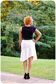 Ruffles for Fall 2016! Top is a modified version of Vogue 1308; the skirt is Vogue 1450. Erica Bunker DIY Style!