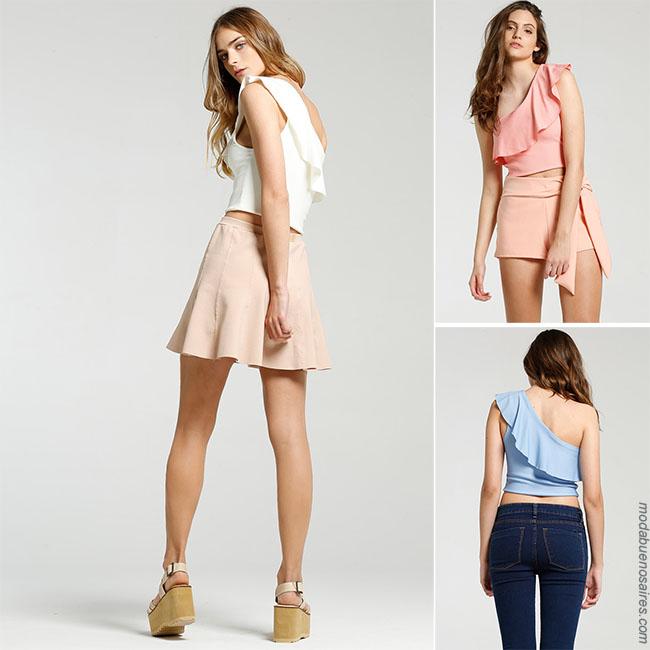 Como usar top con volados - Looks con jeans y faldas - Moda 2018.