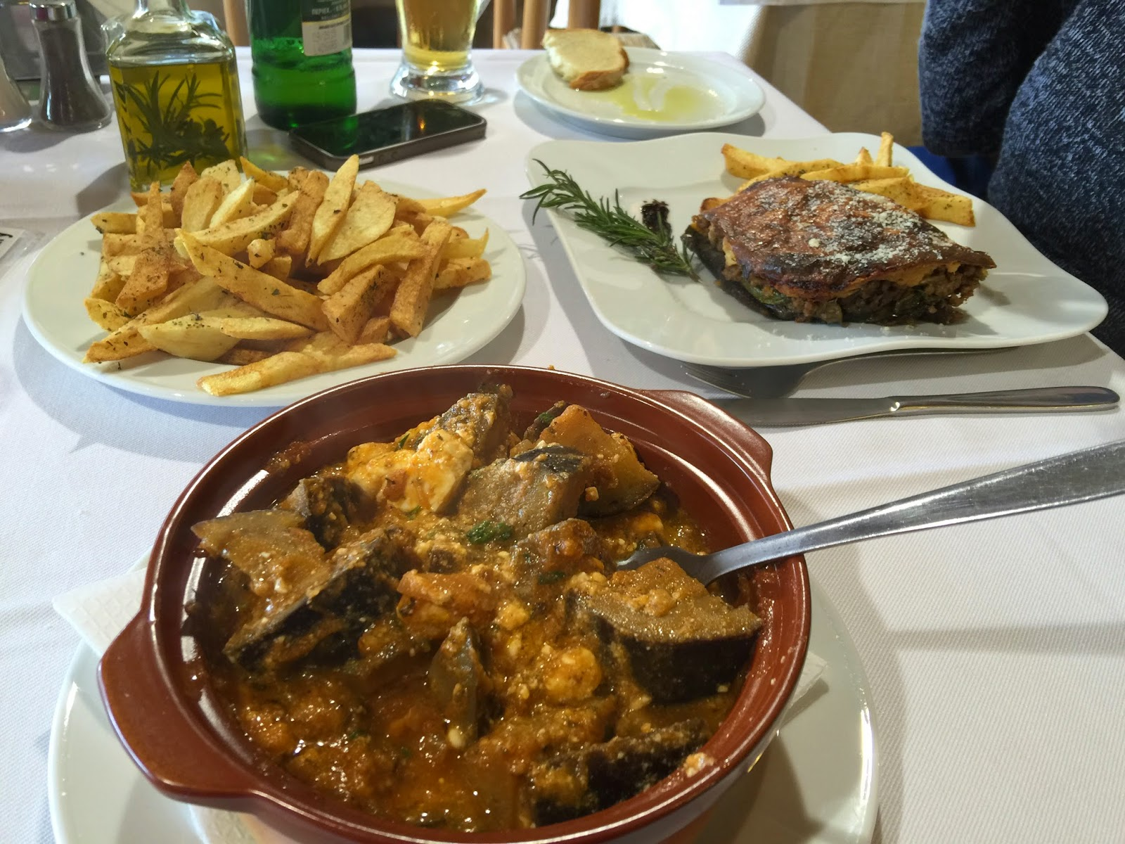 Moussaka and eggplant stew in Knossos restaurant on Greek island of Crete