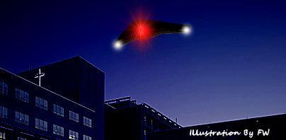 Triangular-Shaped UFO Hovered Over Hospital