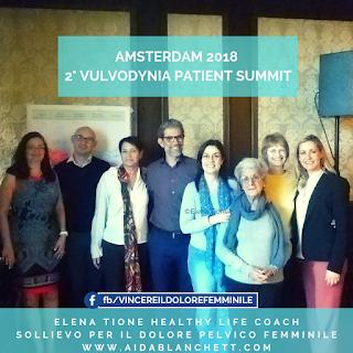 Amsterdam 2018: Elena Tione al 2° Vulvodynia Patient Meeting. Con La National Vulvodynia Association (USA), la Vulval Pain Society (UK), l'Adopec spagnola e la fisioterapista USA esperta di dolore pelvico Amy Stein