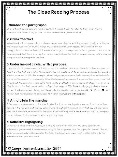 This handout is available for free as part of a blog post explaining close reading.