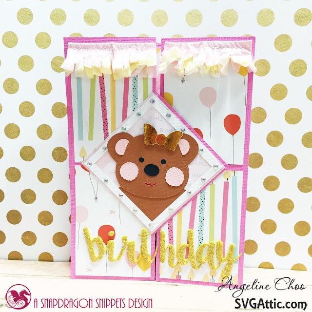 ScrappyScrappy: Beary Birthday Bi-fold card #scrappyscrappy #svgattic #birthday #bifoldcard #card #papercraft #diecut #echopark #glitter #dearlizzy