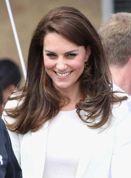 Duchess Catherine of Cambridge Kate Middleton wore ZARA Ivory One Button Blazer. J. Crew Avery Heels. Mirabelle Lolita earrings