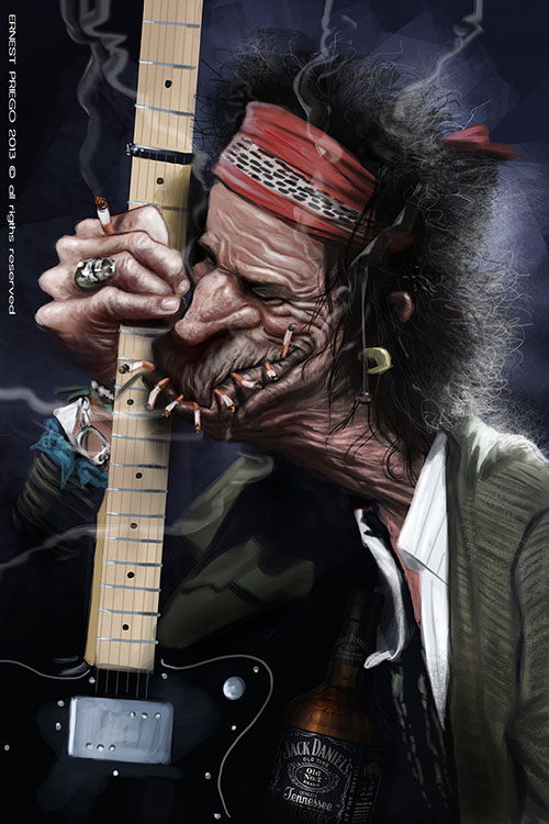 "Caricatura de ""Keith Richards"" por Ernesto Priego"