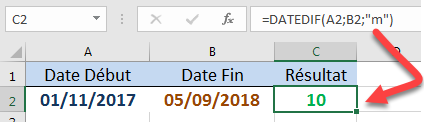 Calculer le nombre de mois DATEDIF