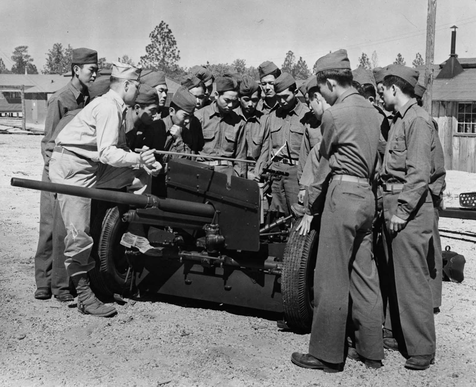 Soldiers receive training on heavy weaponry. 1943.