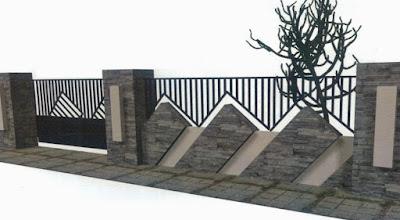 desain pagar batu alam keren