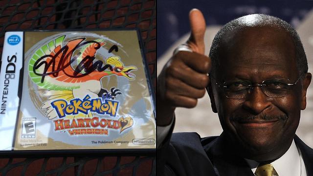 Herman Cain Pokémon autograph HeartGold version Ho-Oh gold standard heart RawkHawk2010