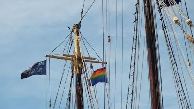 Mast of Lettie G Howard with Pride flag