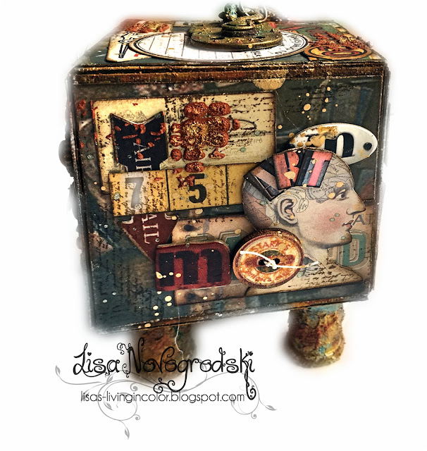 Artist trading block by Lisa Novogrodski for Scraps of Darkness using the May Kit Attic Finds