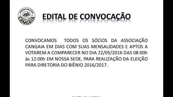 Associação Cangaia convoca sócios para a eleição da nova diretoria Biênio 2016/2018, eleição acontece neste domingo(22)
