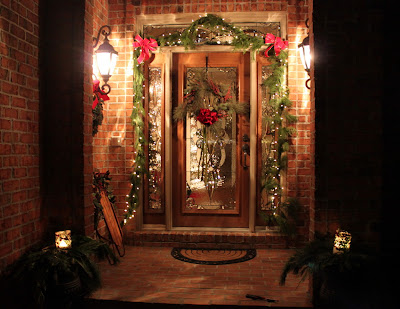 Decorate a Christmas front door using live garland!