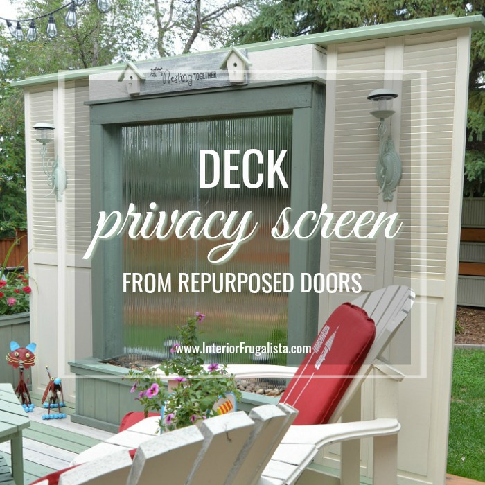 A budget-friendly Deck Privacy Screen idea made with repurposed wooden louvered bifold doors where you can see out but the neighbors can't see in!