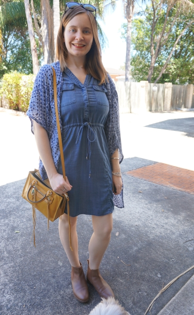 spring outfit: chambray dress, Chelsea leather ankle boots kimono yellow Rebecca Minkoff micro Regan bag