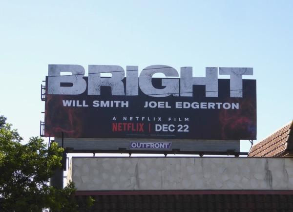 Bright movie title logo billboard