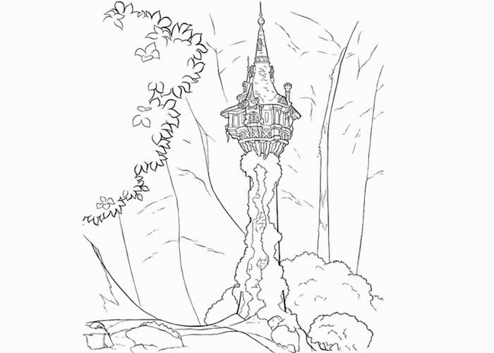 Free Coloring Pages And Coloring Books For Kids Tangled Tower Coloring Page