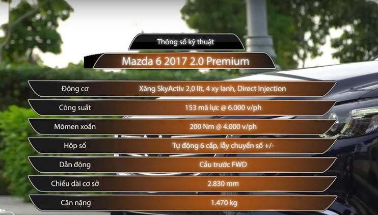 Thông số kỹ thuật Mazda 6 2.0 2017