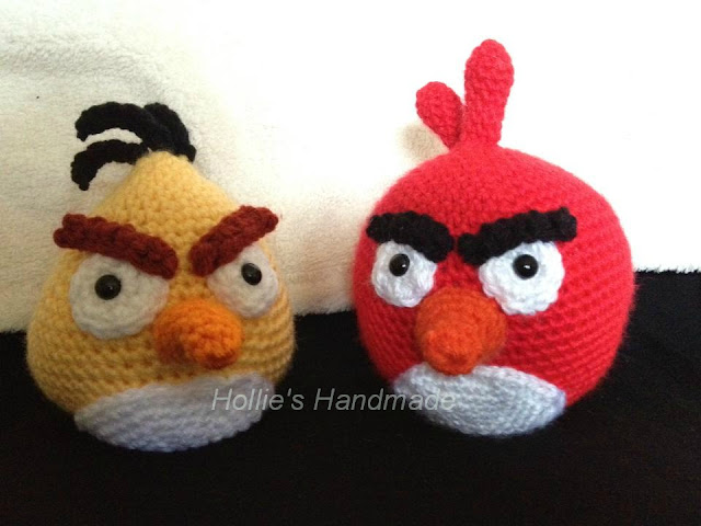 crocheted angry bird dolls by Hollie's Handmade