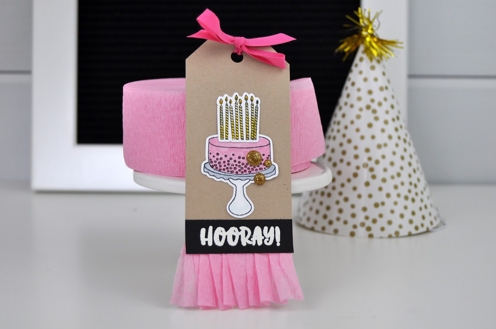 "Echo Park Paper stamped ""Hooray"" Birthday tag from www.jengallacher.com. #jengallacher #echoparkpaper #stamping #copicmarkers"