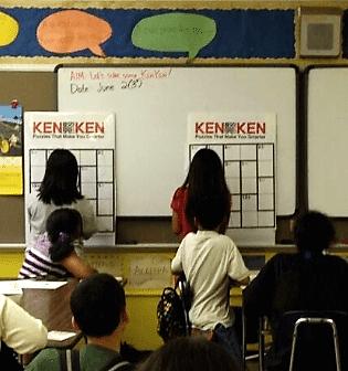 Students playing KenKen in class